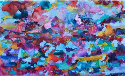 Tuulen asento, akvarelli 2018, 65x75