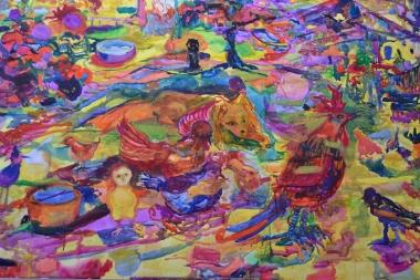Iltapäivä italiaksi, akvarelli 2018, 145x200
