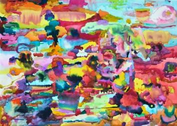 Inkivääripiha, akvarelli 2018, 95x120