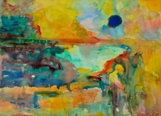Ilta kuu, akvarelli 2011, 65x80