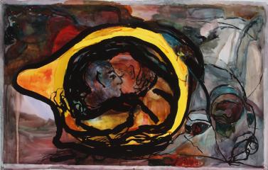 Keltainen suudelma, akvarelli2005, 110x155