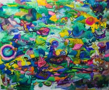 Meritähtiä rannalla, akvarelli, 2019, 110x 120cm