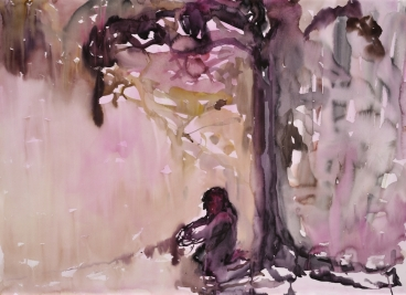 Omaa lunta, akvarelli 2011, 98x110