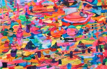Toinen kaupunki, akvarelli 2018. 145x200